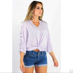 Floral Lace Detailed Sleeve V-Neck Textured